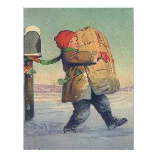 Natal vintage criança com pacote convites
