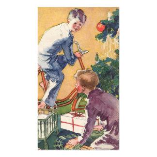 Natal vintage, crianças do vintage com presentes modelo cartões de visitas