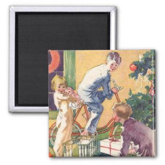 Natal vintage, crianças do vintage com presentes ímã quadrado