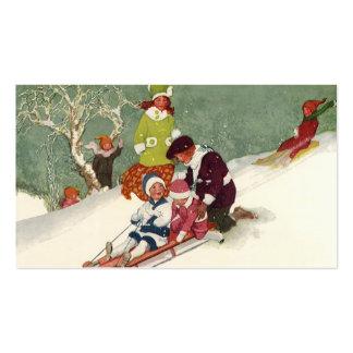 Natal vintage, crianças que Sledding na neve Cartões De Visitas