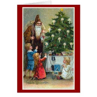 Natal vintage de Frohliche Weihnachten Cartão Comemorativo
