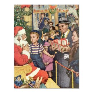 Natal vintage desejo, menino no regaço do papai convite 10.79 x 13.97cm