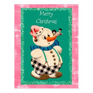 Natal vintage do boneco de neve cartão postal