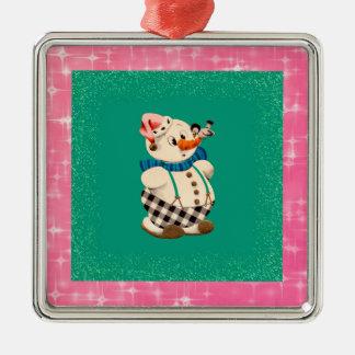 Natal vintage do boneco de neve ornamento quadrado cor prata