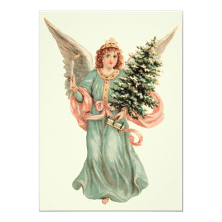 Natal vintage, festa de Natal do anjo do Victorian Convite Personalizado
