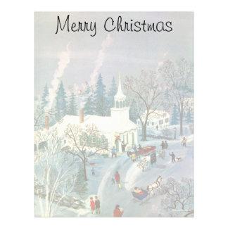 Natal vintage, frequentadores da igreja no dia da modelos de papel de carta