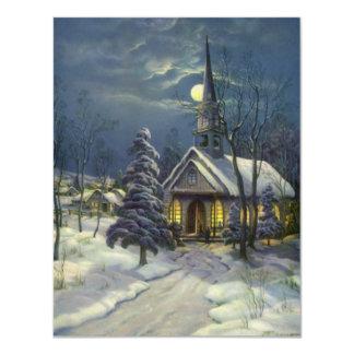 Natal vintage, igreja no inverno da neve do luar convites personalizado