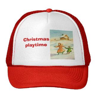 Natal vintage, jogo das crianças boné