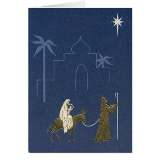 Natal vintage Mary e Joseph religiosos Cartão Comemorativo