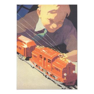 Natal vintage, menino com convite dos trens dos