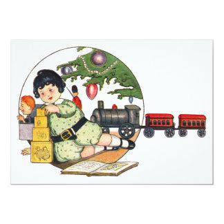 Natal vintage, menino feliz da criança com partido