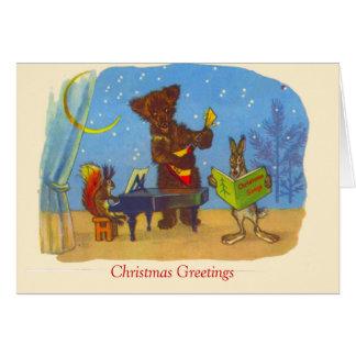 Natal vintage, música dos animais cartão comemorativo