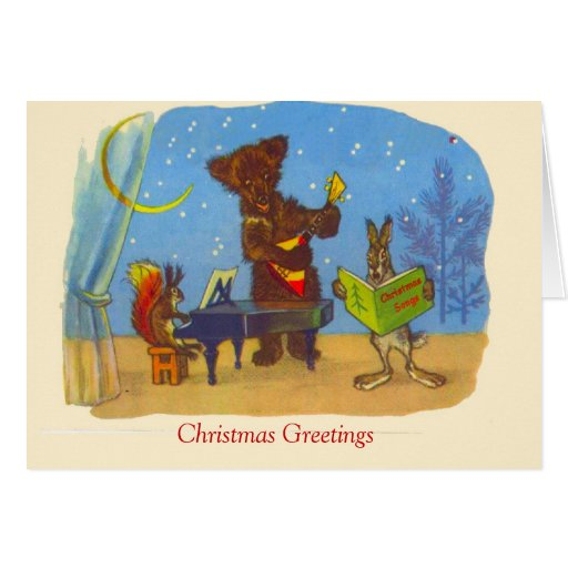 Natal vintage, música dos animais cartões