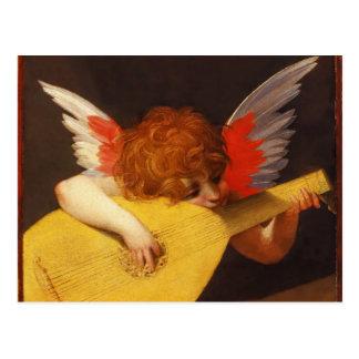 Natal vintage musical do anjo cartão postal