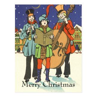 Natal vintage, músicos Caroling Cartoes Postais