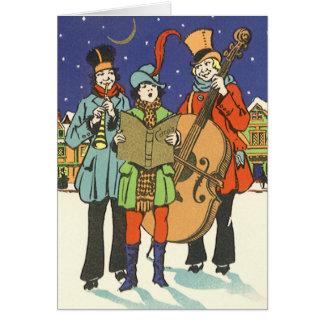 Natal vintage, músicos Caroling com música Cartão Comemorativo