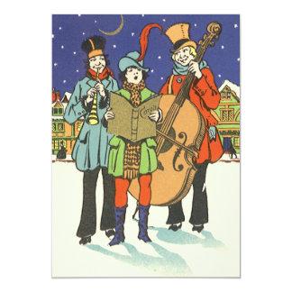Natal vintage, músicos Caroling com música Convite 12.7 X 17.78cm