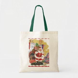 Natal vintage, Papai Noel alegre com brinquedos Bolsas
