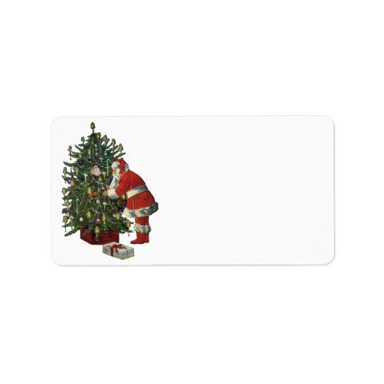 Natal vintage, Papai Noel com presentes Etiqueta De Endereço