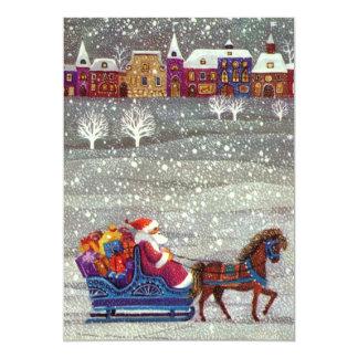 Natal vintage Papai Noel no convite do trenó