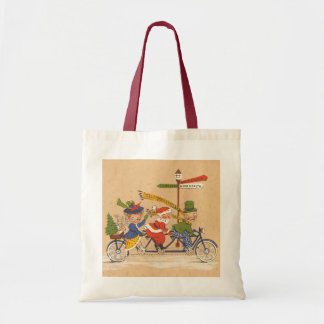 Natal vintage, Papai Noel que monta uma bicicleta Bolsa Para Compras