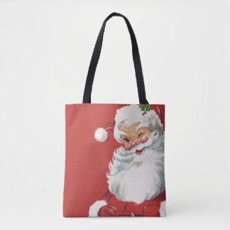 Natal vintage, pisc alegre de Papai Noel Bolsas Tote
