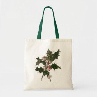 Natal vintage, planta do azevinho com bagas bolsas de lona