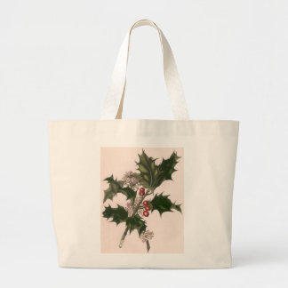 Natal vintage, planta do azevinho com bagas sacola tote jumbo