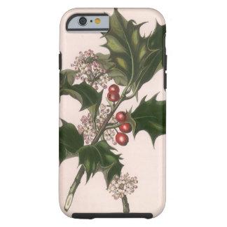 Natal vintage, planta do azevinho com bagas capa tough para iPhone 6