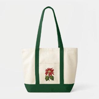 Natal vintage, planta vermelha do inverno da bolsa de lona
