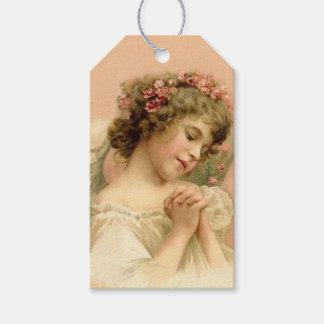 Natal vintage que Praying o anjo Etiqueta Para Presente