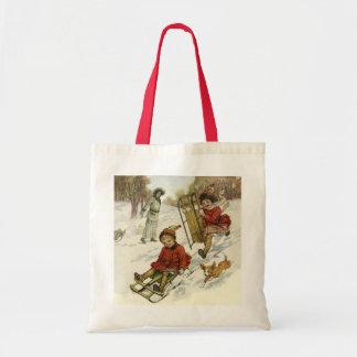 Natal vintage, Sledding das crianças do Victorian Bolsa Para Compra