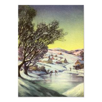 Natal vintage, Snowscape com lago congelado Convite 12.7 X 17.78cm