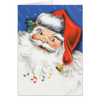 Natal vintage, uma música alegre de Papai Noel w Cartão De Nota
