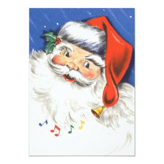 Natal vintage, uma música alegre de Papai Noel w Convite 12.7 X 17.78cm