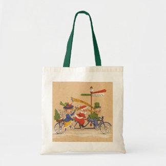 Natal vintage, Victorian Papai Noel na bicicleta Bolsa