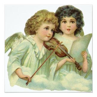 Natal vintage, violino da música dos anjos do convite quadrado 13.35 x 13.35cm