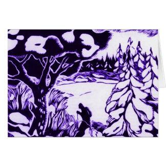 Natal vintage Woodcut, esquiador na floresta Cartão