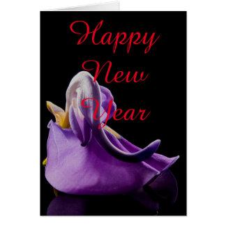 Natal violeta do feliz ano novo da flor da flor cartão comemorativo