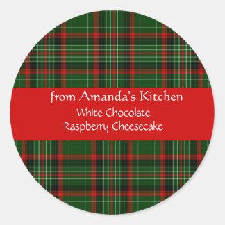 Natal, xadrez vermelha, costume, etiquetas do adesivo redondo