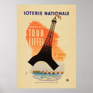 Nationale do loterie de Eiffel da excursão Poster