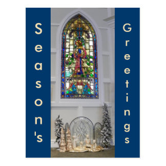 Natividade da janela & do Natal de vitral do Cartão Postal