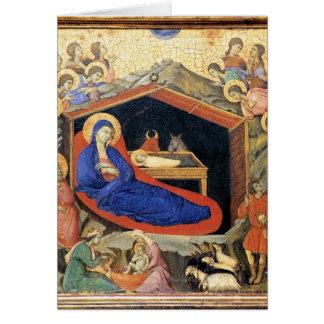 Natividade de Duccio, cartão de texto inglês