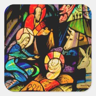Natividade do estilo do vitral adesivo quadrado