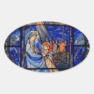 Natividade do estilo do vitral adesivo oval
