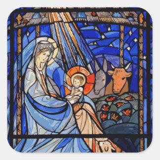 Natividade do estilo do vitral adesivos quadrados