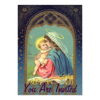 Natividade Mary que guardara o bebê Jesus Convite Personalizado