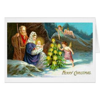 Natividade na neve cartão comemorativo