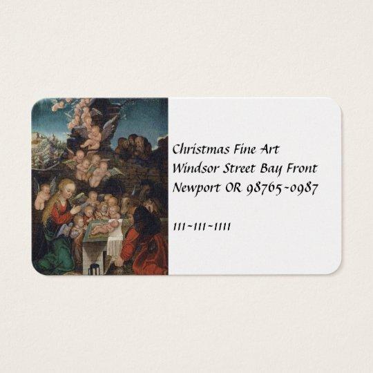 Natividade que caracteriza querubins cartão de visitas