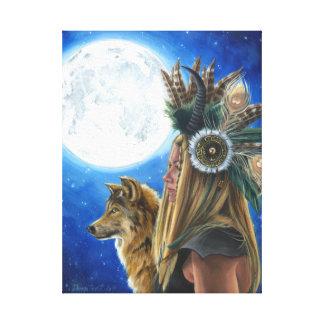 Nativo americano do lobo das canvas de arte de